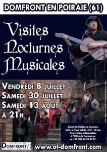 Affiche 2016 visites nocturnes musicales de la cité médiévale de Domfront