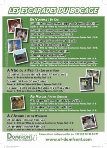 Affiche 2016 escapades du Bocage organisées par l'office de tourisme de Domfront dans l'Orne
