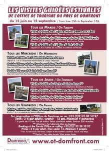 Affiche 2016 des visites de l'été organisées par l'office de tourisme de Domfront dans l'orne