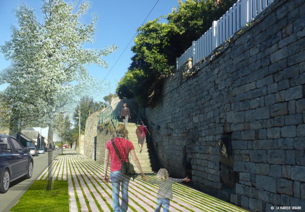 rue des fossés-plisson Domfront photomontage réaménagement
