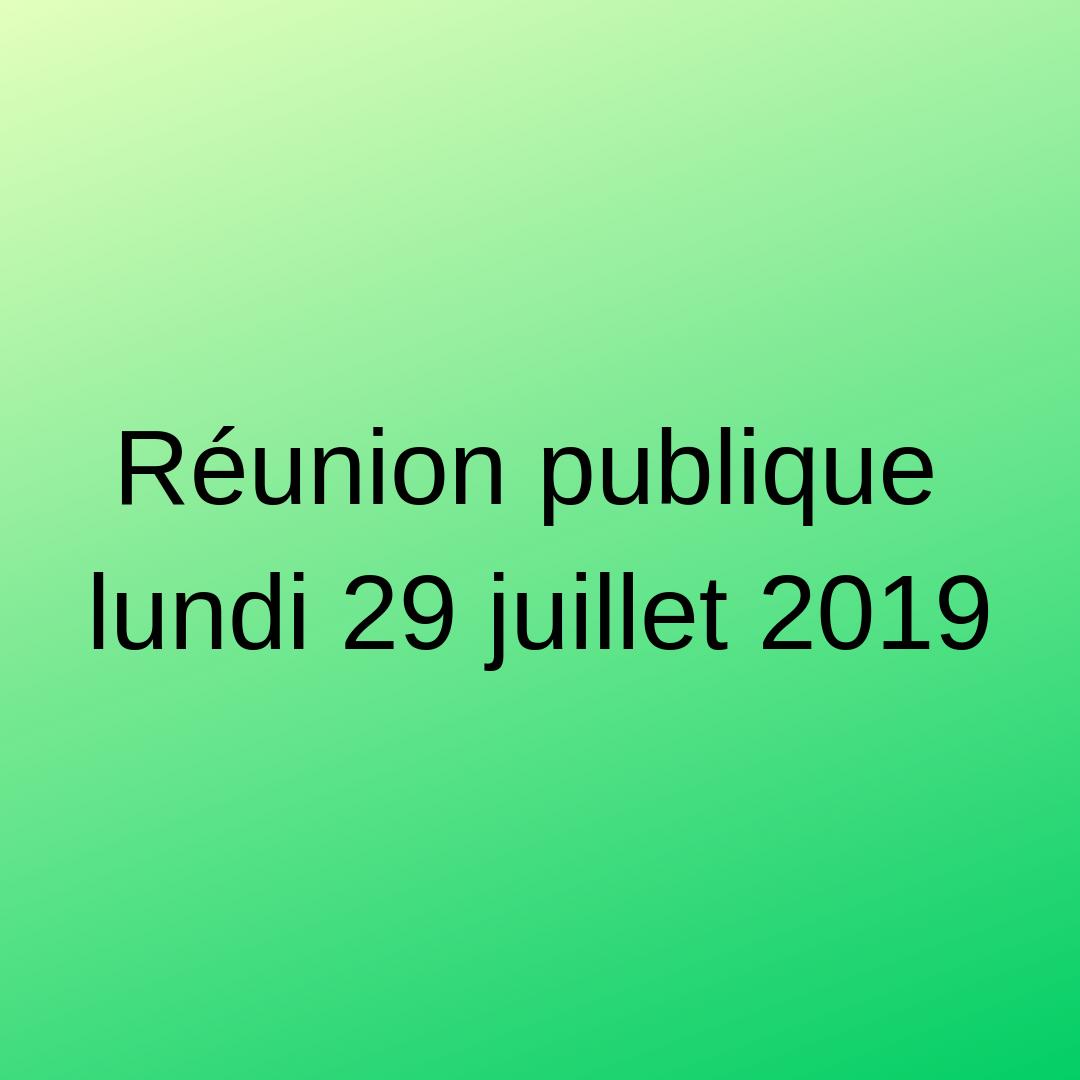 Réunion publique le lundi 29 juillet 2019